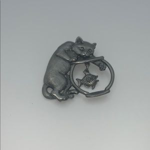 Vintage JJ pin brooch cat and fish bowl